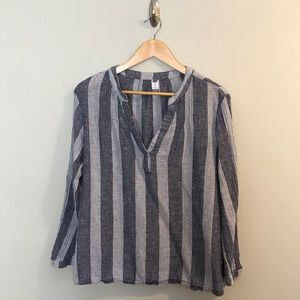 Old Navy Gray Linen Tunic Striped Shirt Blouse XL